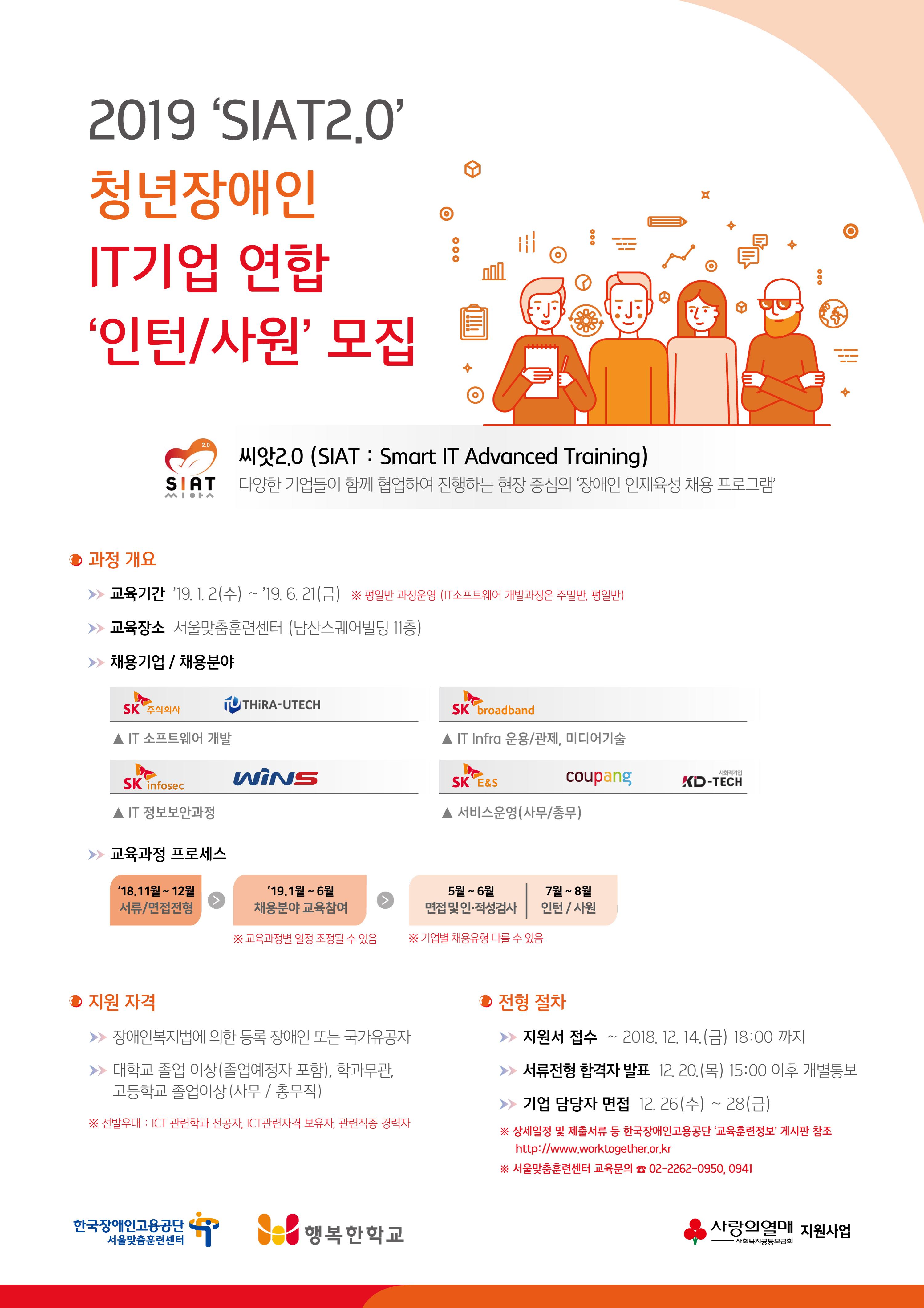 「2019년 씨앗(SIAT)2.0 청년장애인 IT기업 연합 인턴/사원 모집」